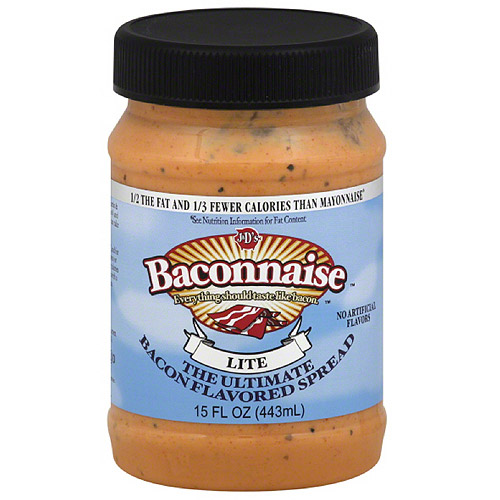 J&D's Baconnaise Lite Bacon Flavored Spread, 15 fl oz, (Pack of 6)