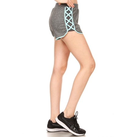 - Womens Ladies Active Workout Side Strappy Hem Yoga Shorts 8SH05-S-MH Grey