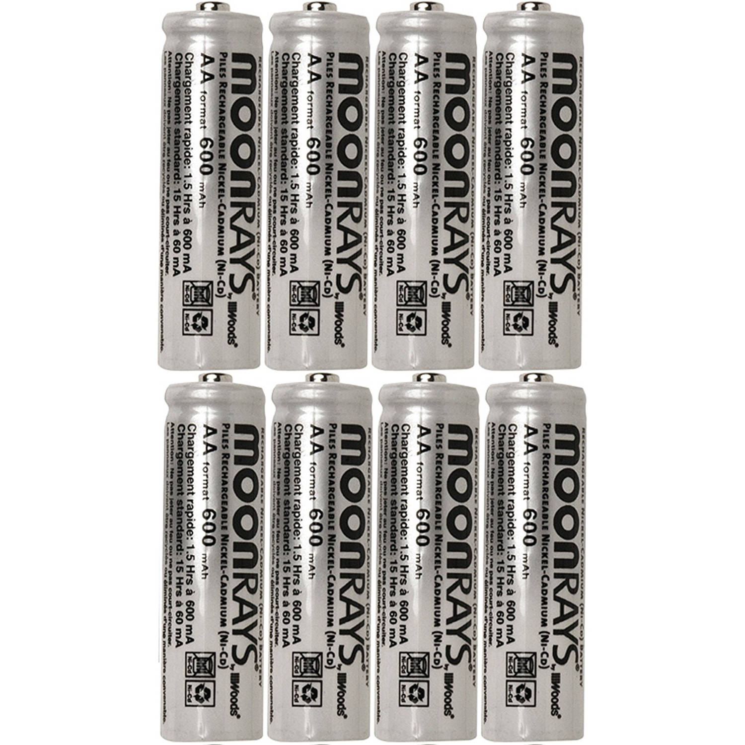 Moonrays 47740SP Rechargeable NiCd AA Batteries for Solar Powered Units, 600-mAh, 8-Pack by Moonrays