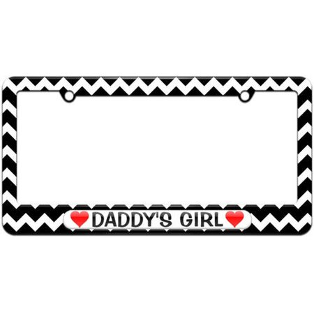 Daddy's Girl Love with Hearts License Plate Tag Frame, Multiple (Girl License Plate Frame)