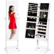 Best Choice Products 6-Tier Standing Mirror Lockable  Storage Organizer Cabinet Armoire w/ Velvet Interior - White