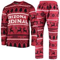 Arizona Cardinals Holiday Wordmark Ugly Pajama Set - Cardinal