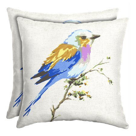 Mainstays Pastel Bird Outdoor Patio 16 Inch Square Toss Pillow, Set of Two Accessories Square Toss Pillow