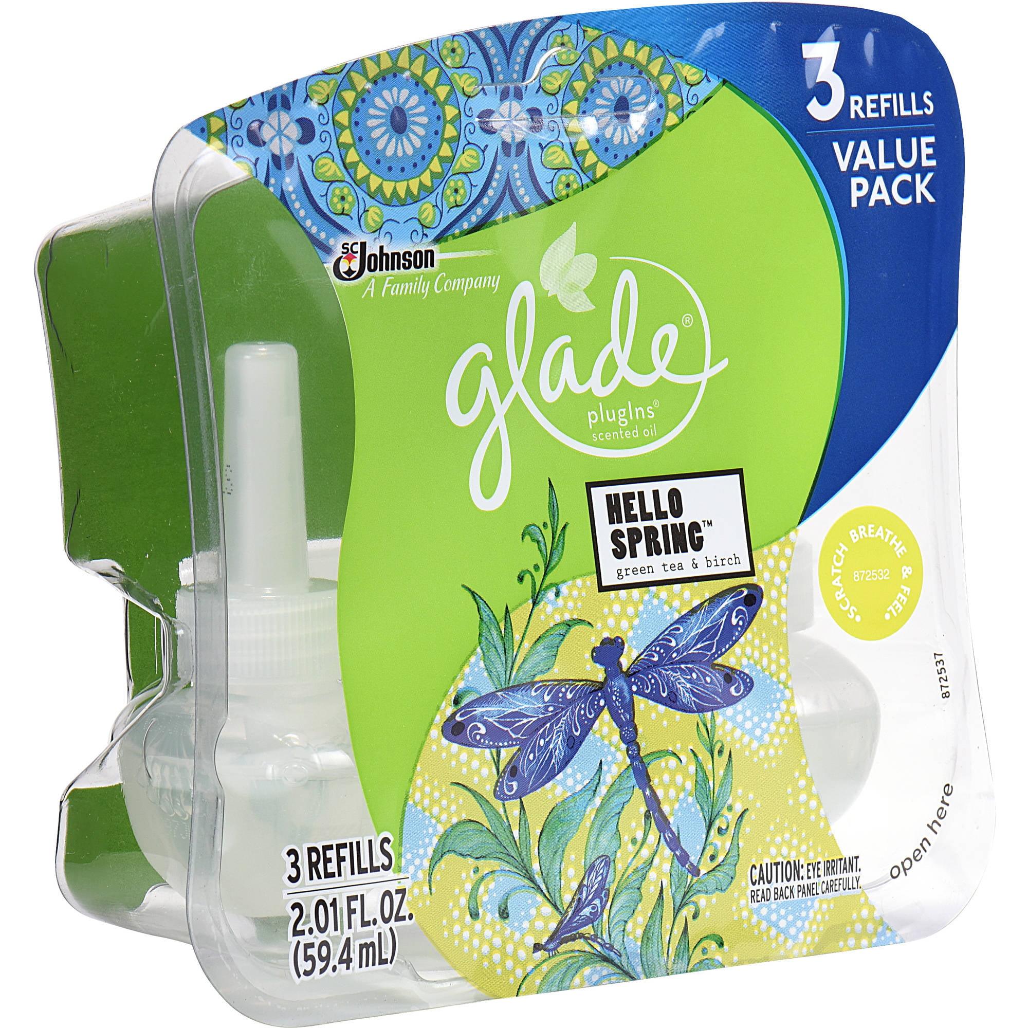 Glade PlugIns Hello Spring Green Tea & Birch Scented Oil Refills, 2.01 fl oz, 3 count