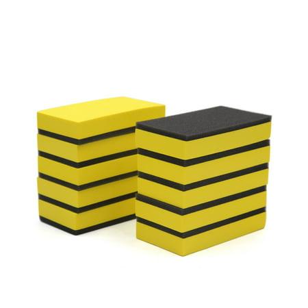 10pcs Yellow Foam Black Sponge Compound EVA Car Waxing Buffing Polishing