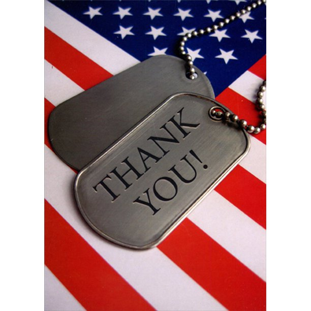 Designer Greetings Dog Tags and American Flag Patriotic Military Service Thank You Card