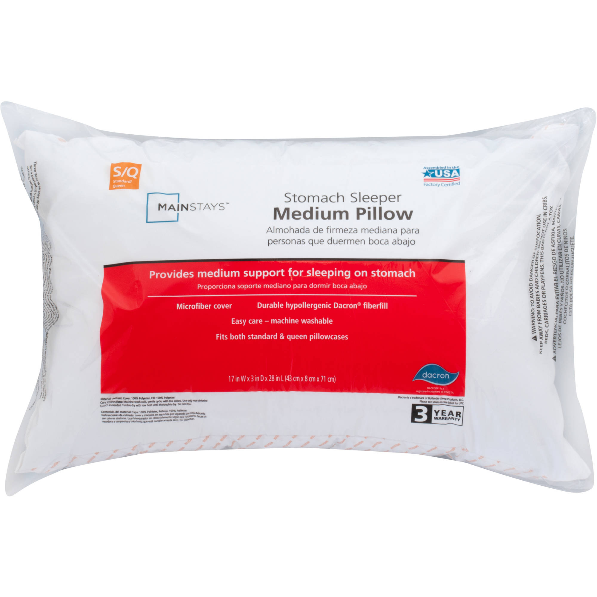 Mainstays 100% Polyester Medium Pillow Set of 2, Multiple Sizes