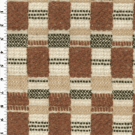 Wool Blend Designer Spice Orange/Beige Ivan Home Decorating Fabric, Fabric By the Yard