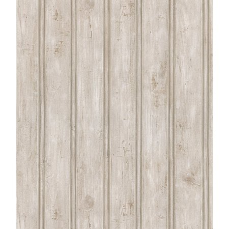 Brewster Grayling Textured Wood Paneling Wallpaper