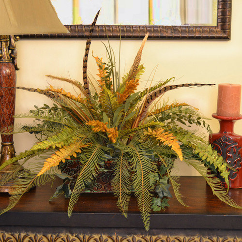 Floral Home Decor Silk Fern with Feathers in Decorative Container