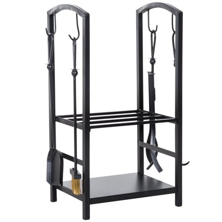 Heavy Duty Firewood Rack with 4 Tools Black - image 3 of 7