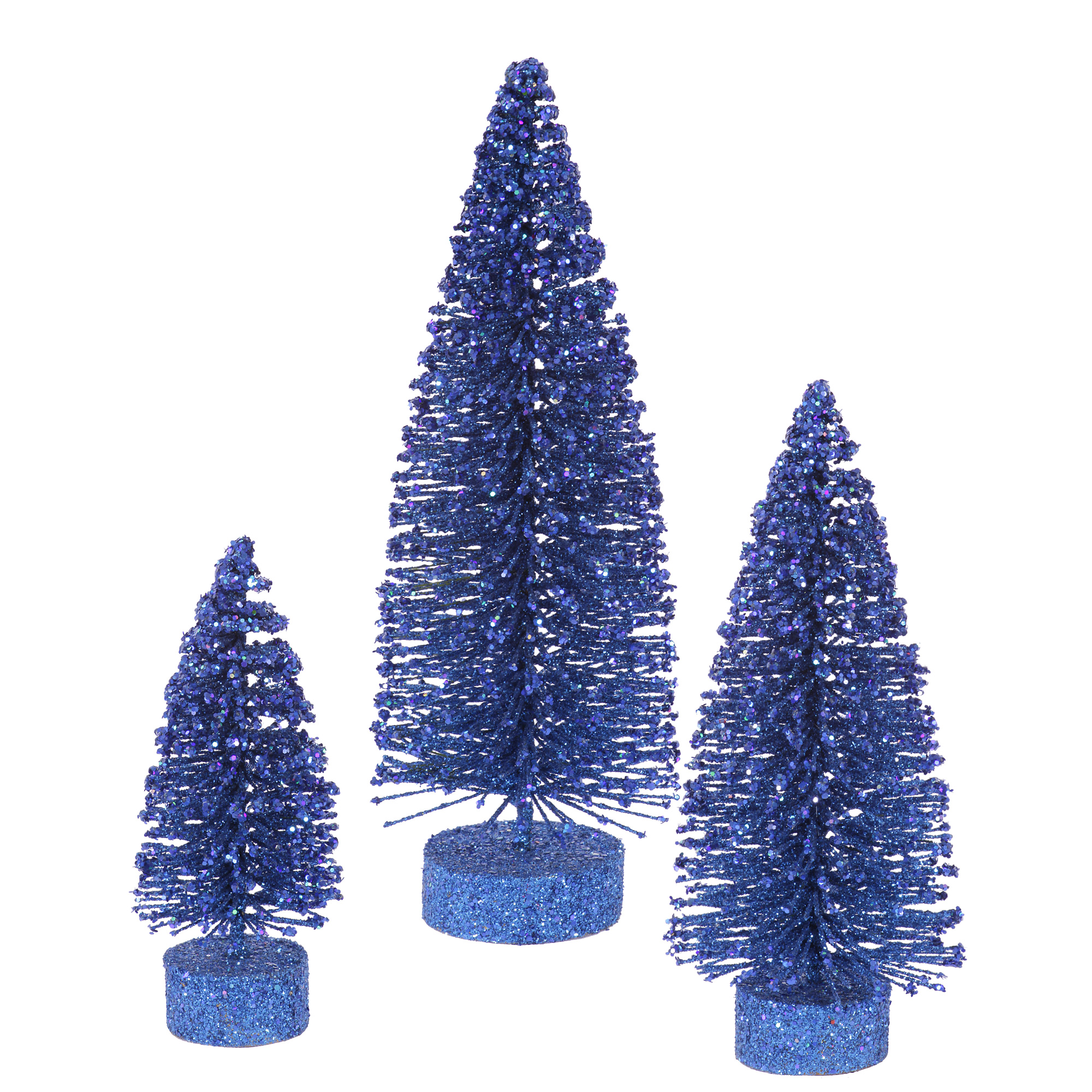 "Vickerman Artificial Christmas Tree 5""-7""-9"" Blue Glitter Oval Tree Set of 3"
