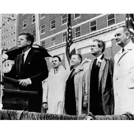 Morning Of The Day Of JkfS Assassination President  Kenney Speaks To A Crowd In Front Of The Texas Hotel In Fort Worth During A Light Rain Behind Him Are Senator Ralph Yarborough Texas Governor John (Perfect Touch Day Spa Fort Worth Reviews)