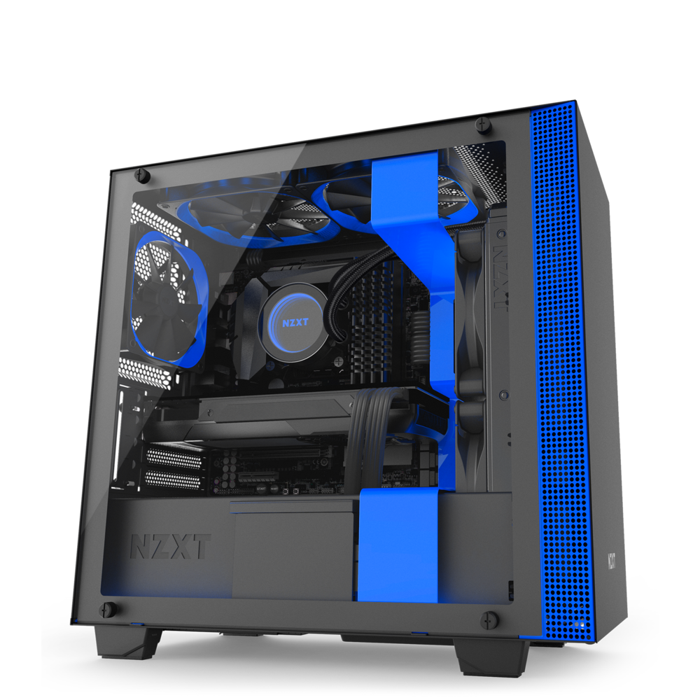NZXT H400 - MicroATX PC Gaming Case - Tempered Glass - Enhanced Cable Management - Water Cooling Ready - Black/Blue
