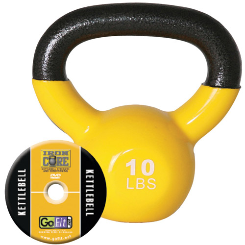 GoFit 10-lb Premium Kettlebell with Training DVD