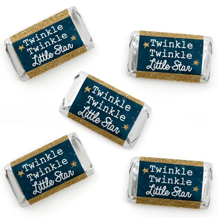Twinkle Twinkle Little Star - Mini Candy Bar Wrapper Stickers - Baby Shower or Birthday Party Small Favors - 40 Count