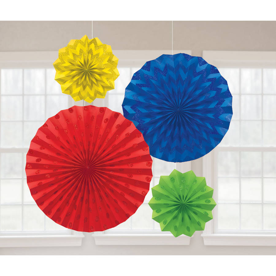 Glitter Paper Fans Rainbow, Set of 4