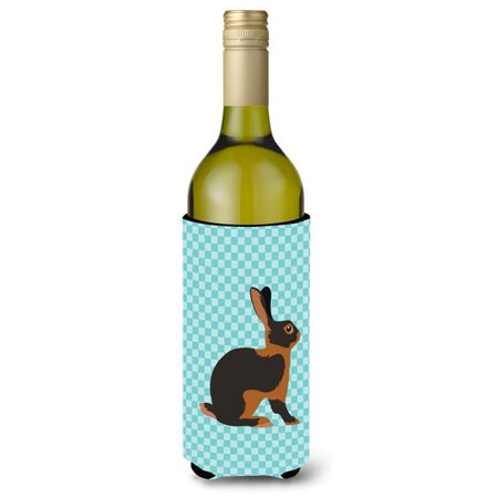 168 Bottle Wine - Tan Rabbit Blue Check Wine Bottle Beverge Insulator Hugger