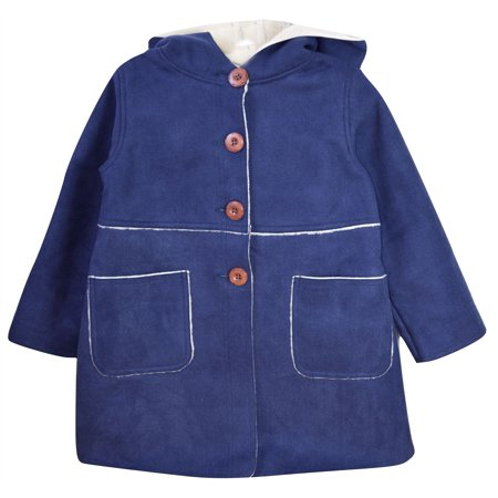 Kid's Girls Hooded Faux Suede Button Down Cozy Jacket Coat Navy 110 CM