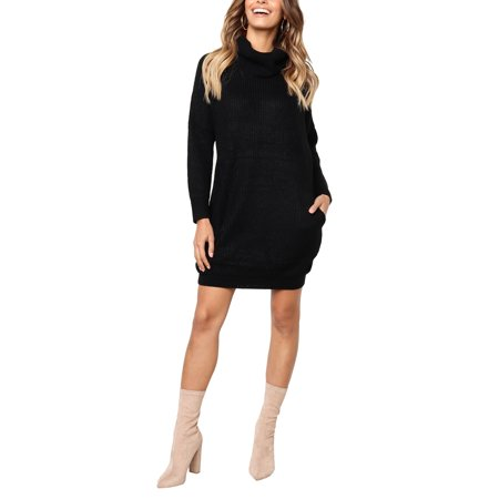 Winter Womens Polo Neck Turtleneck Long Sleeve Sweater Jumper  Pullover Ladies Knitted Bodycon Dress