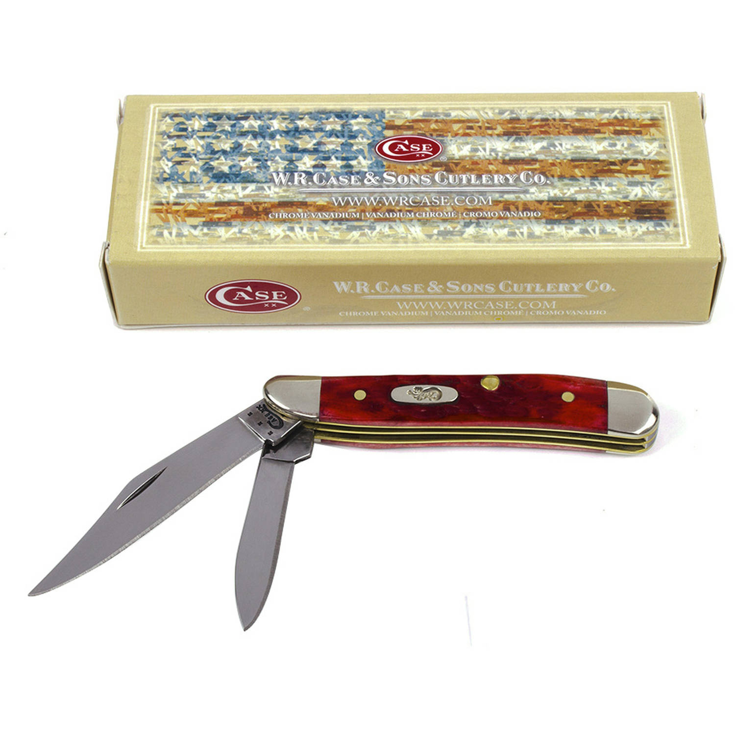 Case XX 6987 Peanut Dark Red Bone CV Folding Knife