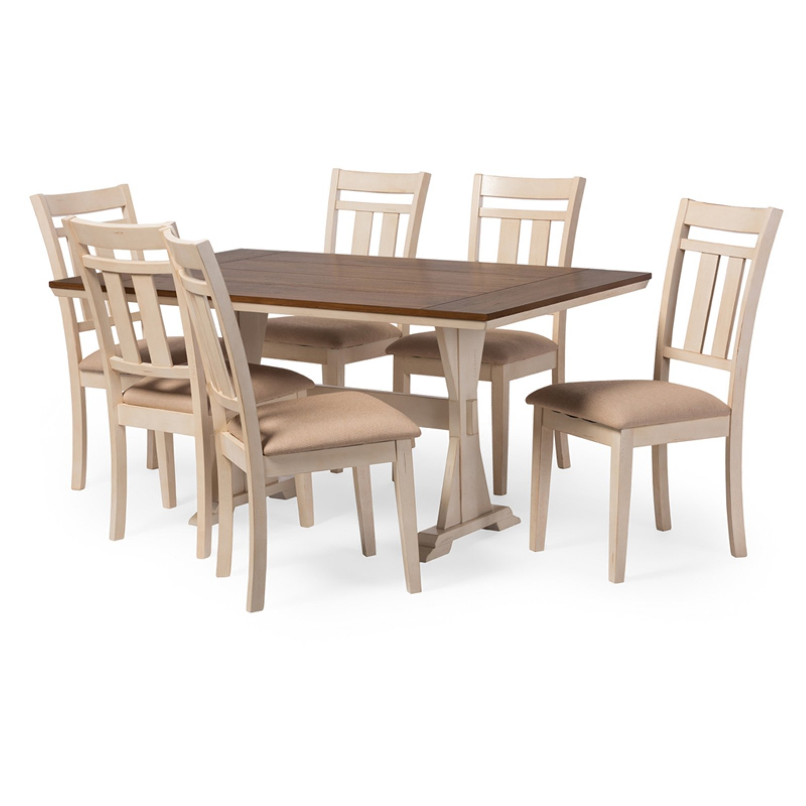 Baxton Studio Roseberry Shabby Chic 7 Piece Dining Table Set