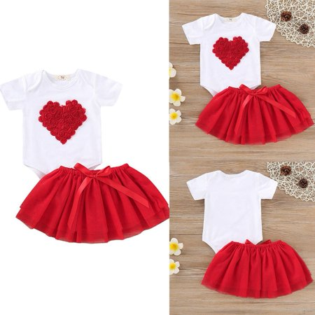 Newborn Baby Girls Valentine's Day Outfit Short Sleeve Romper Bodysuit  Lace Tutu Skirts Summer Outfit (50's Day Outfits)