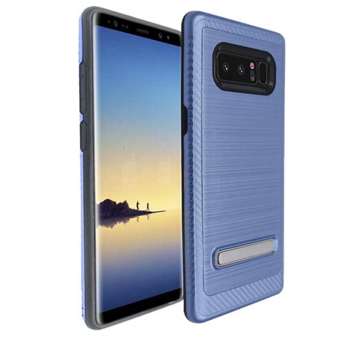 Blue Metallic Shield Kickstand Case For Samsung Galaxy Note 8 Phone
