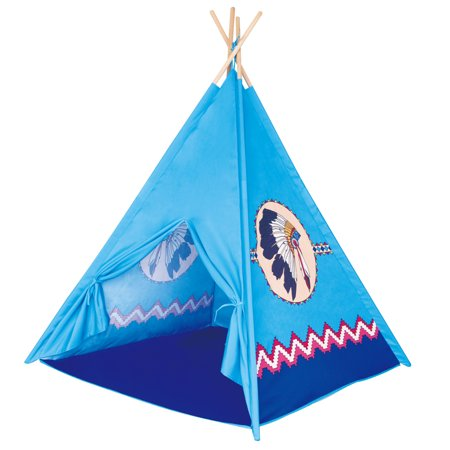 POCO DIVO Apache Turquoise Teepee Indian Tribe Tent Canvas Finish Kids Indoor Playhouse Children Outdoor Play Castle Toy Tipi with Wooden Poles