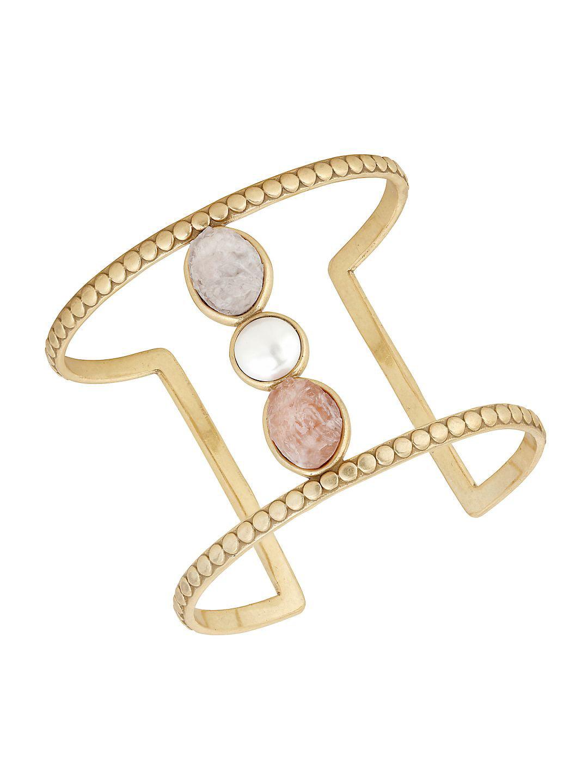 Nouveau Americana Faux Pearl Cuff Bracelet
