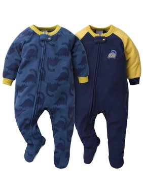 Gerber Baby Boy Microfleece Blanket Sleepers Pajamas, 2-Pack