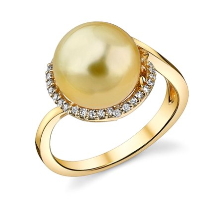 10 Mm Pearl Ring - 10mm Golden South Sea Cultured Pearl & Diamond Summer Ring in 18K Gold