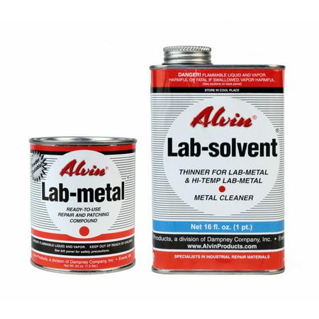 Alvin 24 oz Lab Metal & 16 oz Lab Solvent Kit Putty Dent Filler & Patching Compound