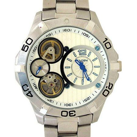Elgin Mens Silver Tone Multi Function Watch
