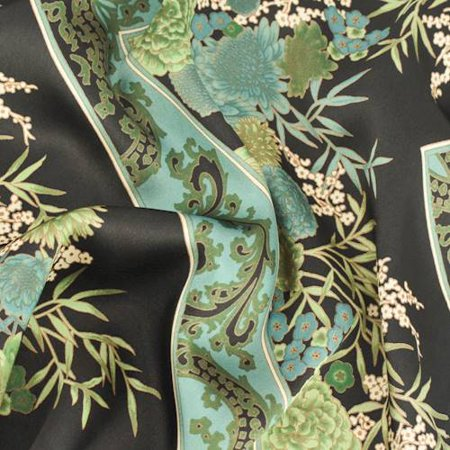 Spa Teal/Black Floral Bandana Print Charmeuse, Fabric By the Yard