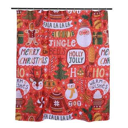 Christmas Shower Curtain with Hooks 72x72 Wrapping Paper Pattern Design Holiday Celebration Themed Water Repellent and Mildew Resistant Bathroom Curtain (Red) - Holiday Shower Curtain