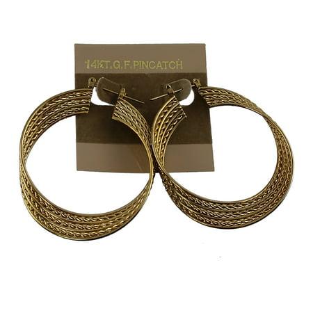 "Mega Hoop Earrings Gold Tone Single Twist 2 1/8"""