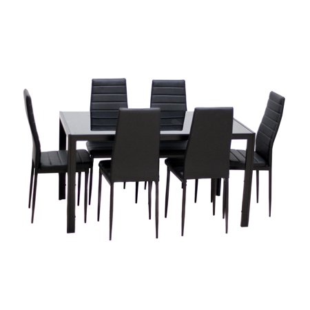 - Ktaxon Dining Table Set Glass Table & 6 Chairs Metal Kitchen Room Furniture