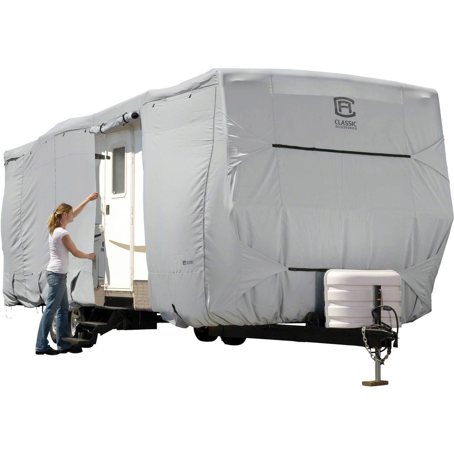 Classic Accessories OverDrive PermaPRO Deluxe Travel Trailer Cover, Fits 18' - 40' RVs - Lightweight Ripstop and Water Repellent RV Cover