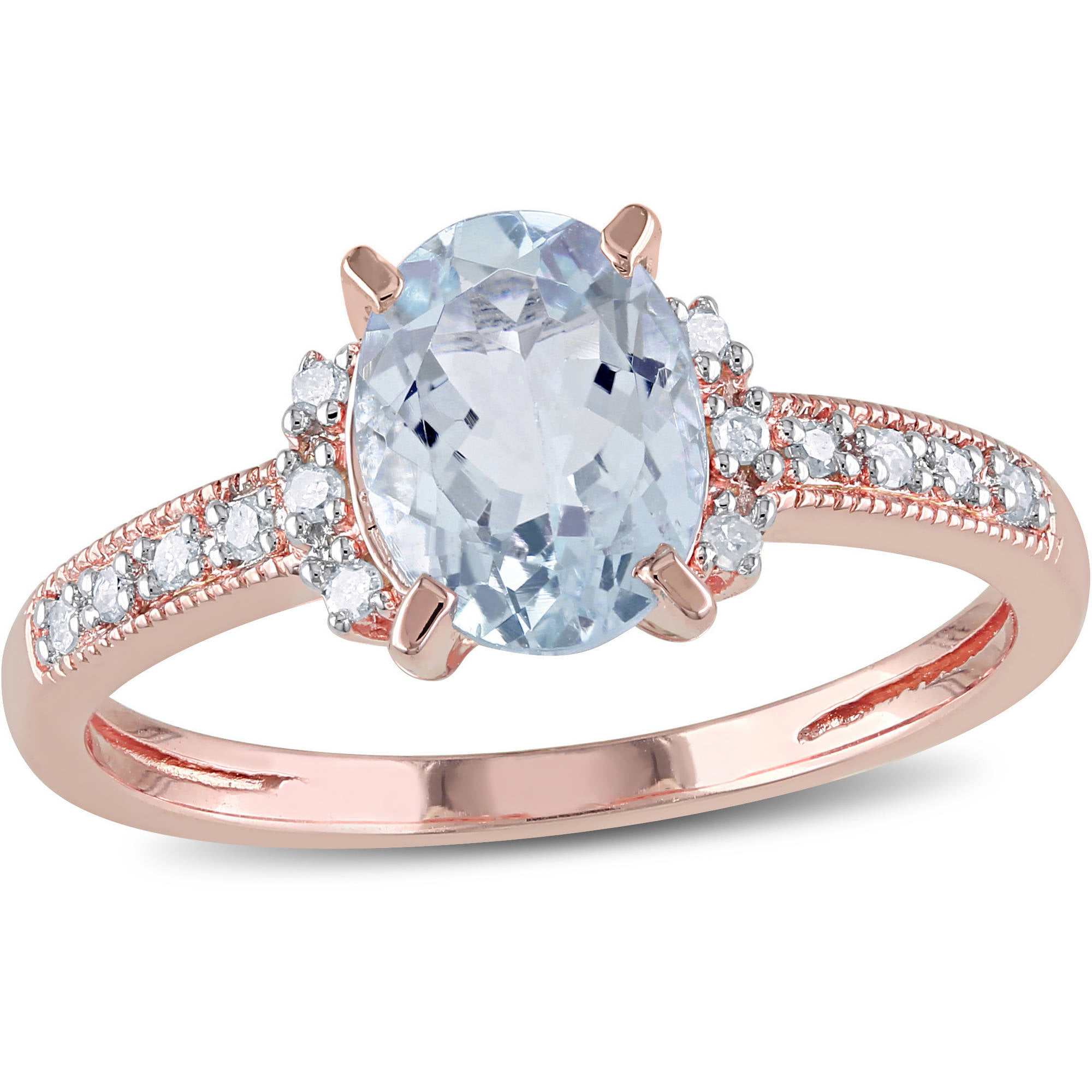 1 Carat T.G.W. Aquamarine and Diamond-Accent Rose Rhodium-Plated Sterling Silver Cocktail Ring by Miabella