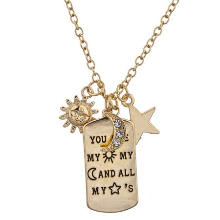 Lux Accessories Gold Tone You Are My Sun My Moon n all My Stars Pendant - Sun And Moon Friendship Necklace