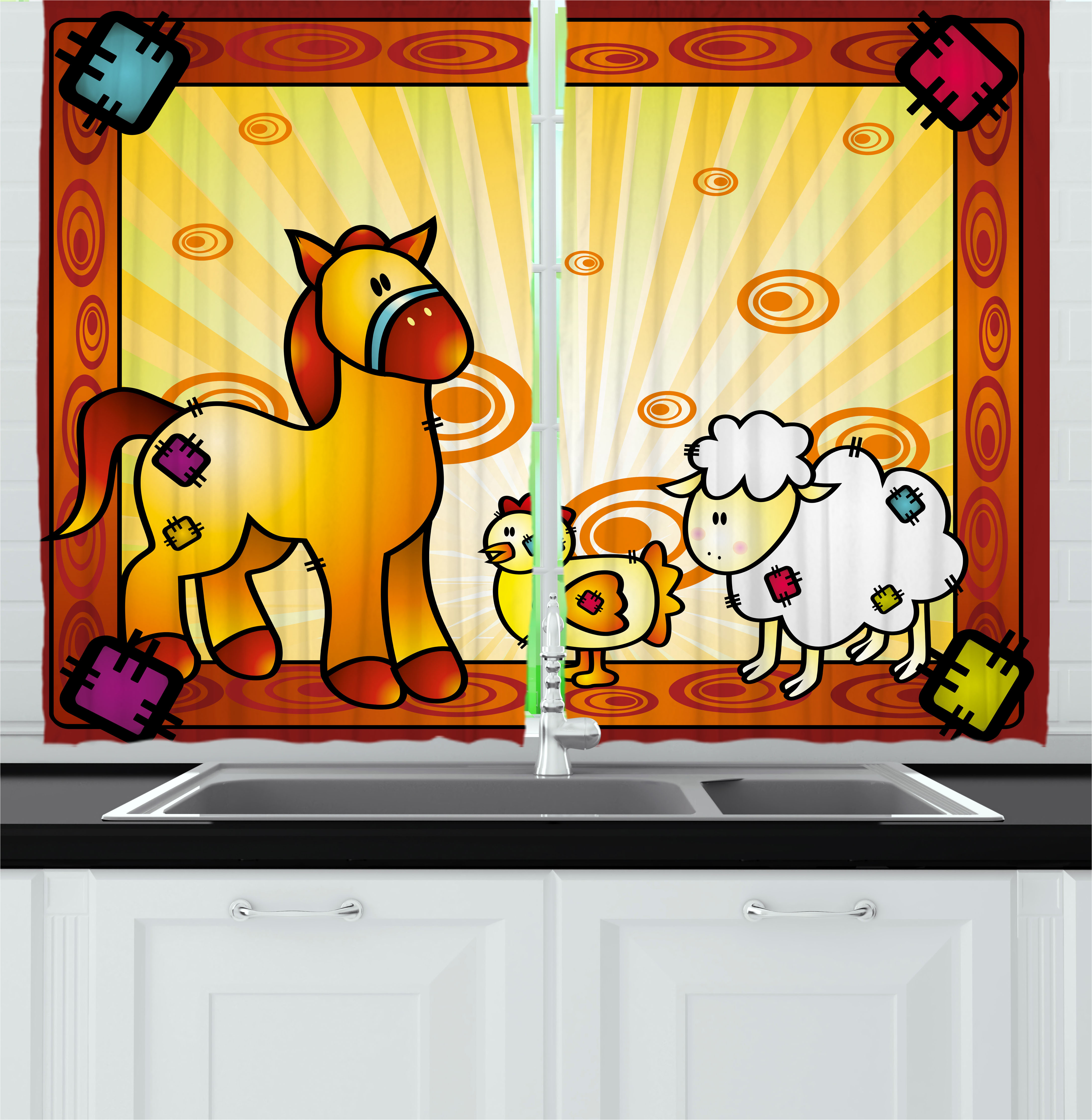 Kids Curtains 2 Panels Set, Animal Friend Chicken Sheep and Horse with Patch Motif Zoo Joyful Cartoon Print, Window Drapes for Living Room Bedroom, 55W X 39L Inches, Red Orange Yellow, by Ambesonne