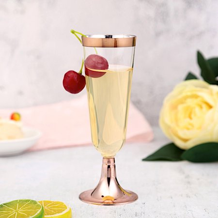 BalsaCircle 6 pcs 5 oz Clear Rose Gold Rim Plastic Party Champagne Flutes - Disposable Wedding Party Home Event Catering Tableware - Engraved Wedding Flutes