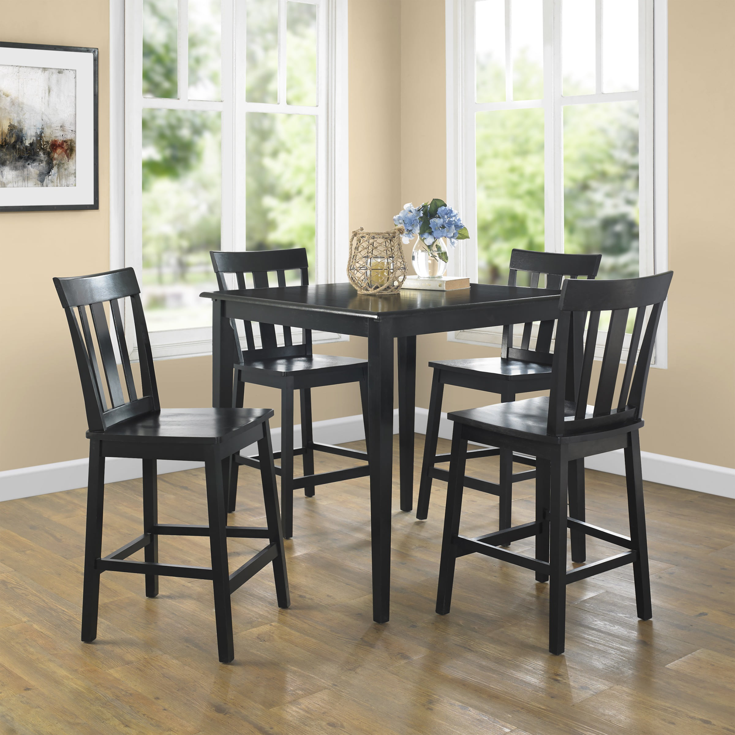 Mainstays 5 Piece Dining Set Black Walmart Com Walmart Com