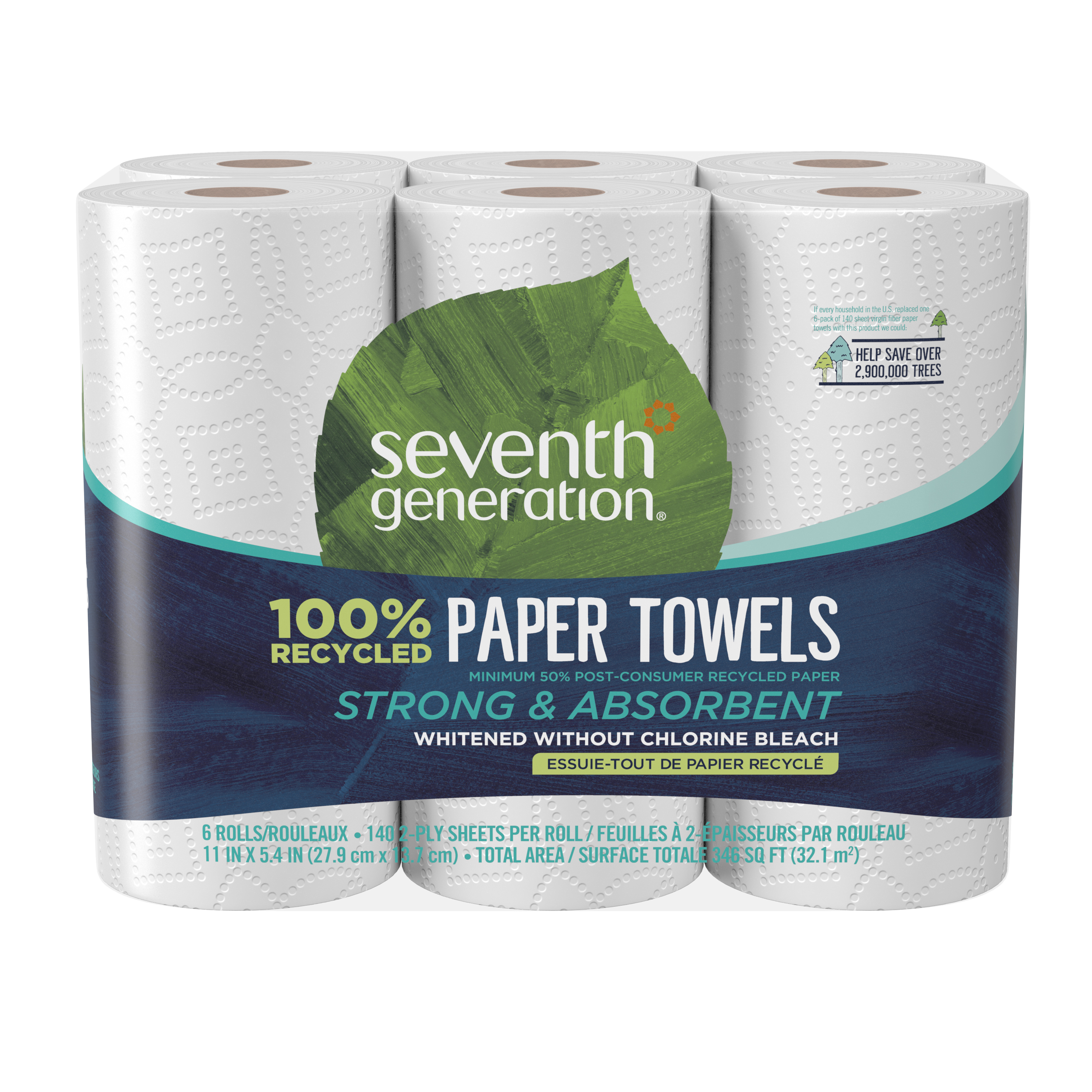 Seventh Generation 100% Recycled Paper Towels, Full Sheet, 6 Rolls