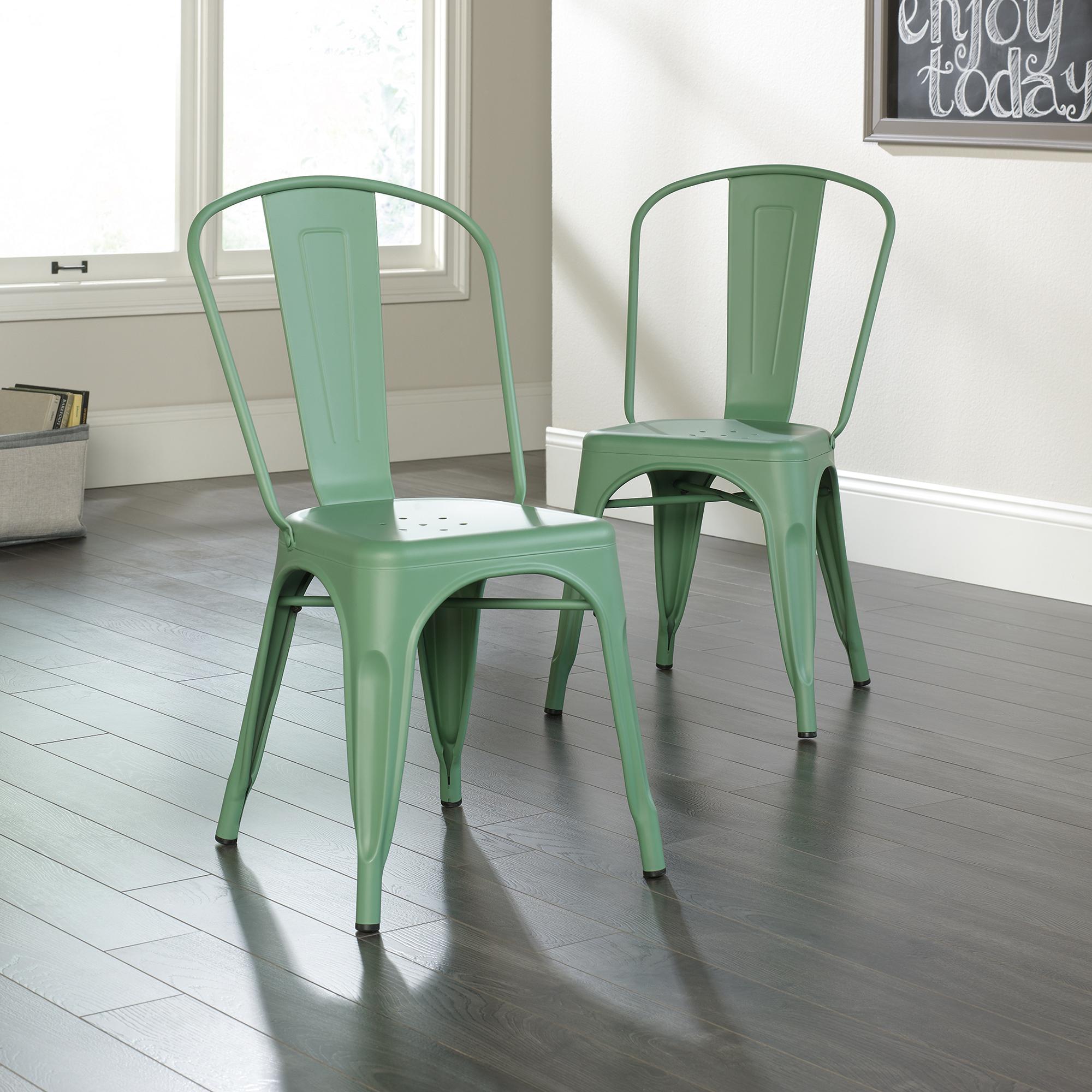 Sauder New Grange Metal Dining Chairs, Light Green Finish - Set of 2