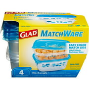 Glad Food Storage Containers, MatchWare Rectangle, Two 32-Ounce, Two 64-Ounce, BPA Free