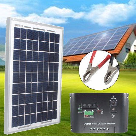 Elfeland 3Pcs 10W 12V PolyCrystalline Solar Cells Solar Panel Module Battery Charger with 3m Cable Clip + 10A Solar Controller For Car RV Boat