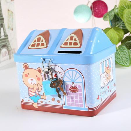 Cartoon Iron House Cute Piggy Bank Money Saving Box Tinplate Creative Coin Pot Gifts for Children Style: blue Size:11.9 * 9.4 * 10.4cm](Cupcake Piggy Bank)