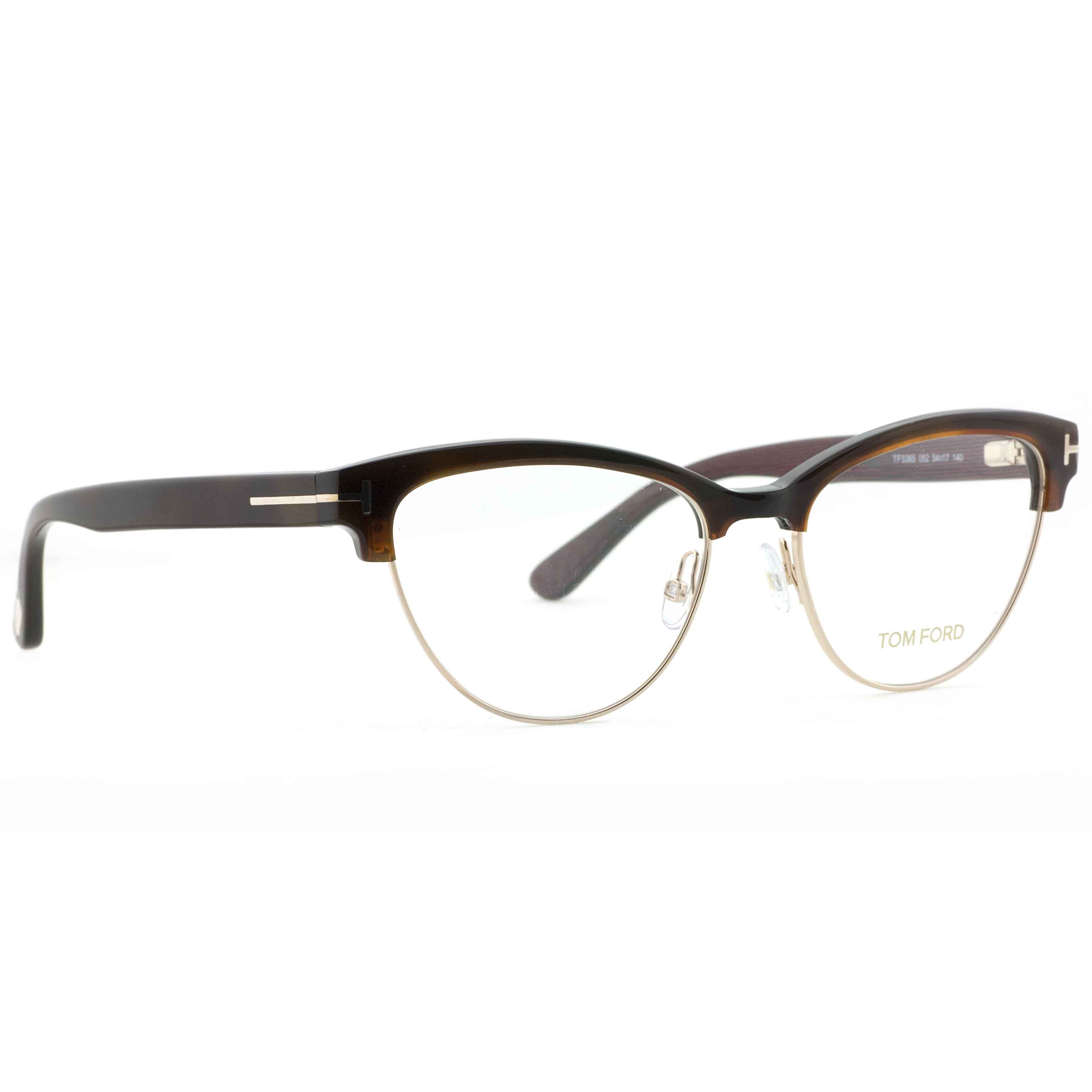 6a743e2145 Tom Ford TF 5365 052 54mm Havana Brown Gold Women s Cat Eye Eyeglasses -  Walmart.com